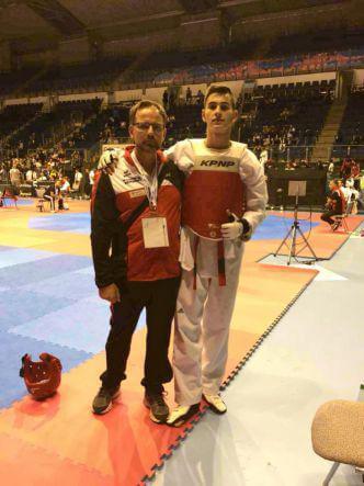 Taekwondo Korab Kabashi ind Trainer Gerd Lange in Magdeburg 2018