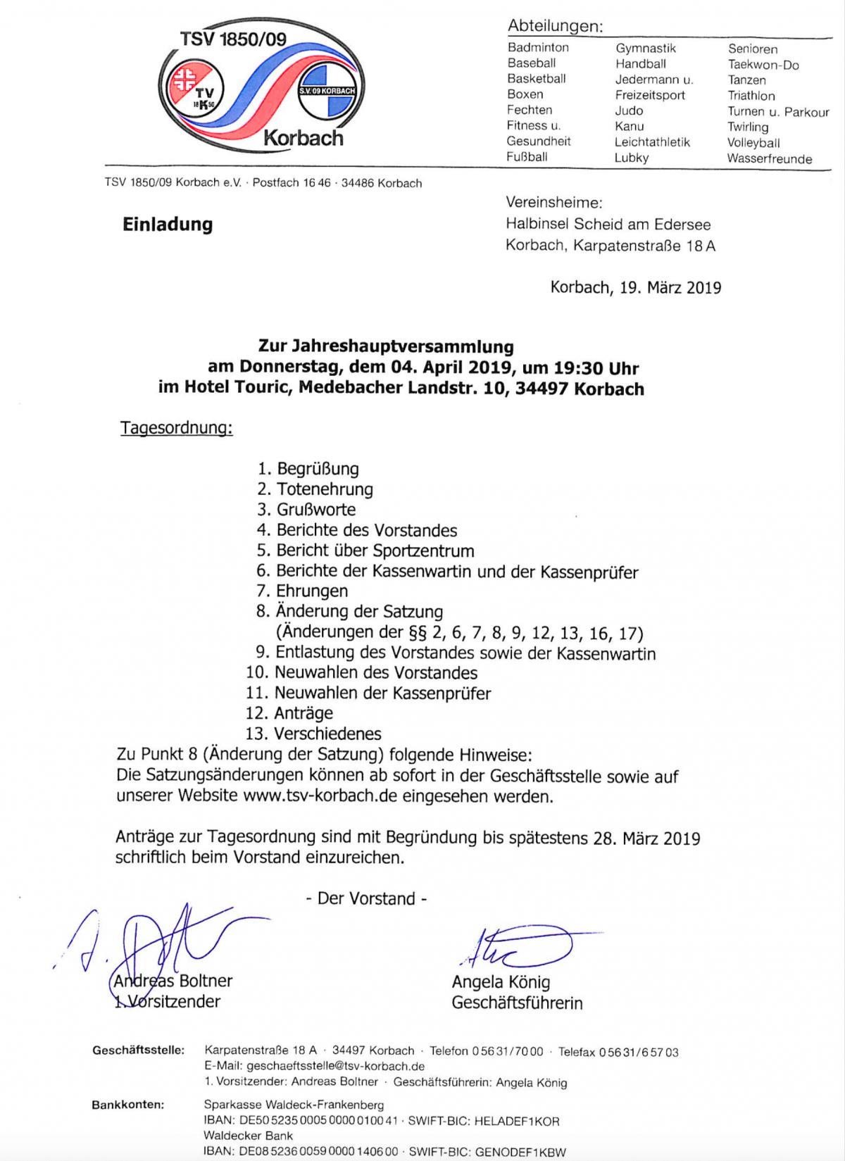 Einladung zur Jahreshauptversammlung des TSV Korbach