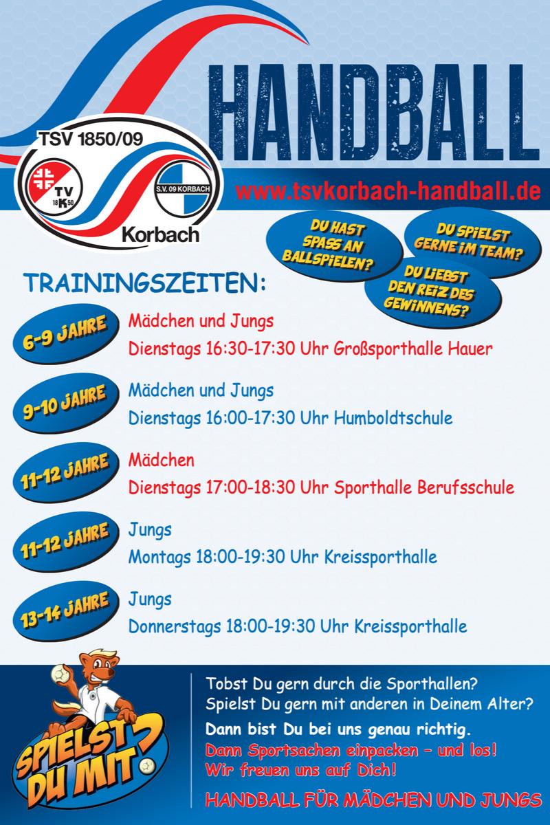 Trainingszeiten der Handball Kids des TSV Korbach