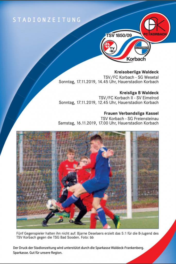 Stadionzeitung der Fußballabteilung vom 13.11.2019